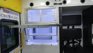 Optional Flip-up Stocking Cabinets with Sliding Windows